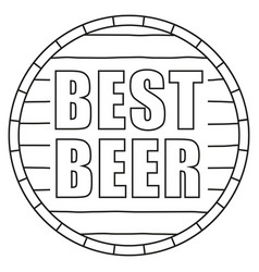 line art black and white best beer text on barrel vector image
