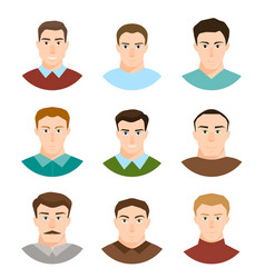 male character face avatars flat style people set vector image