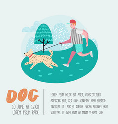 Man training dog in the park dog poster banner vector
