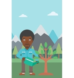 Man watering tree with light bulbs vector image