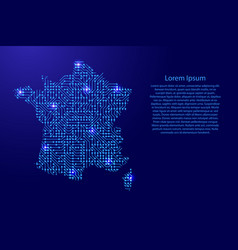 Map france from printed board chip and radio vector