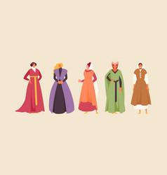 Medieval women in historical dresses vector