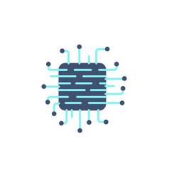 microchip line icon vector image