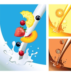 milk juice chocolate splashes vector image