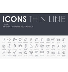 Music Thin Line Icons vector