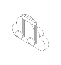 Musical notes icon isometric 3d style vector image