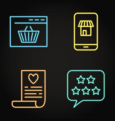 Neon internet commerce icon set in line style vector