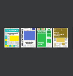 newspaper cover set abstract news template vector image