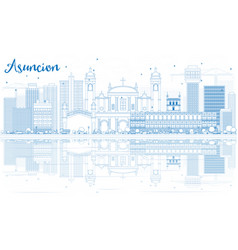 Outline asuncion skyline with blue buildings and vector