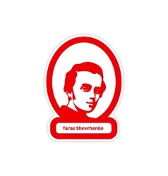 Paper sticker on white background Taras Shevchenko vector