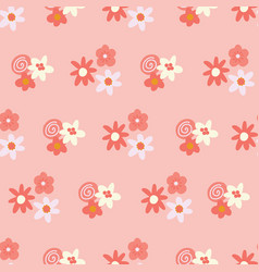 pink and yellow ditsy flowers background seamless vector image