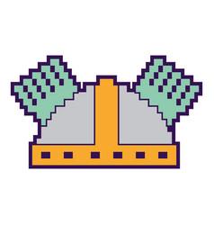 Pixel helmet protection game icon vector