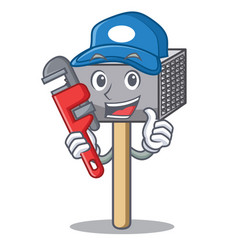 plumber meat hammer utensil isolated on mascot vector image