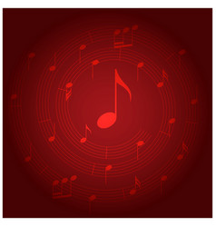 Red background with spiral music staff vector