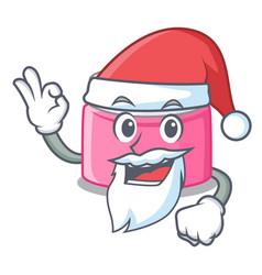 Santa face cream in a cartoon jar vector