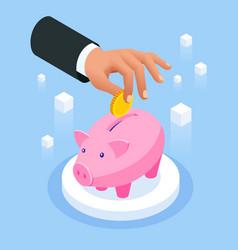 Saving money isometric concept piggy bank vector