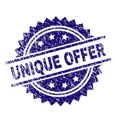 Scratched textured unique offer stamp seal vector