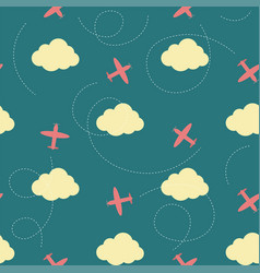 Seamless pattern with clouds and planes vector