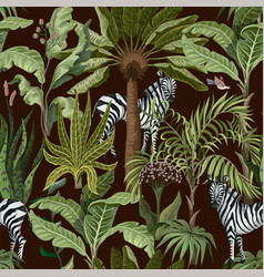 Seamless pattern with tropical trees and zebra vector