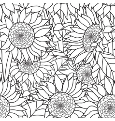 Seamless Sunflowers bouquet Coloring book vector