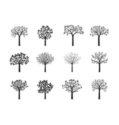 set black trees vector image