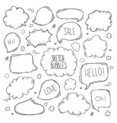 Set hand drawn sketch speak bubbles vector