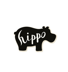 Silhouette of a hippo on a white background vector