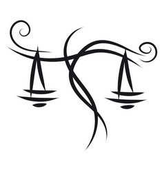 Simple black and white tattoo sketch of libra vector