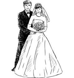 sketch happy bride and groom vector image