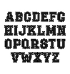 Slab serif font in the style of college vector