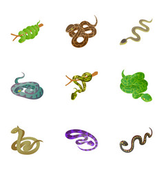 snake icons set cartoon style vector image