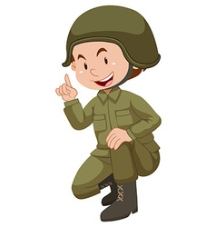 Soldier in green uniform sitting vector image