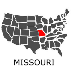 state missouri on map usa vector image