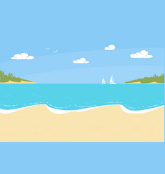 summer time sandy beach background with seascape vector image