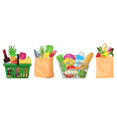 supermarket grocery bags shopping baskets and vector image