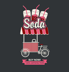Tray on wheels for sale of carbonated drinks vector