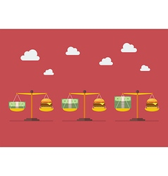 Trend money and burger balance on scale vector