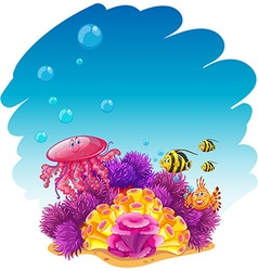 Underwater scene with jellyfish and corals vector