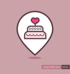 Wedding cake dessert with heart pin map icon vector