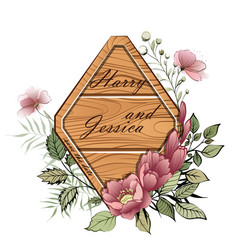 wedding floral invite wooden rhombus plate vector image