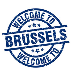 Welcome to brussels blue stamp vector