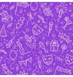 White carnival symbols in doodle style on violet vector image