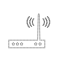 Wifi modem sign black dashed icon on vector