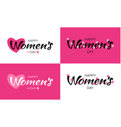womens day greeting cards and lettering vector image