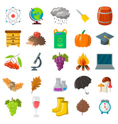 autumn school icon set cartoon and flat style vector image vector image