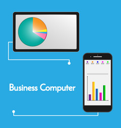 Charts displayed on tablet and smart phone vector