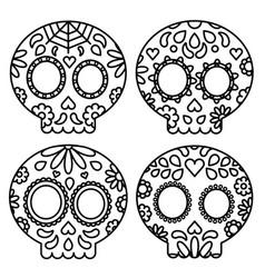 day of the dead set of skulls black outline for vector image