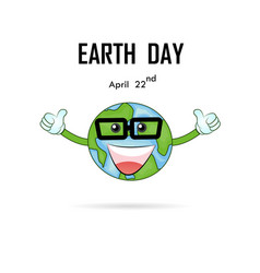 happy earth day april 22 with globe cute vector image