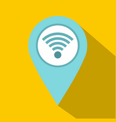 light blue map pointer with wi fi symbol icon vector image