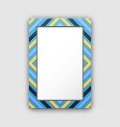 photo frame with blue border and abstract figures vector image vector image